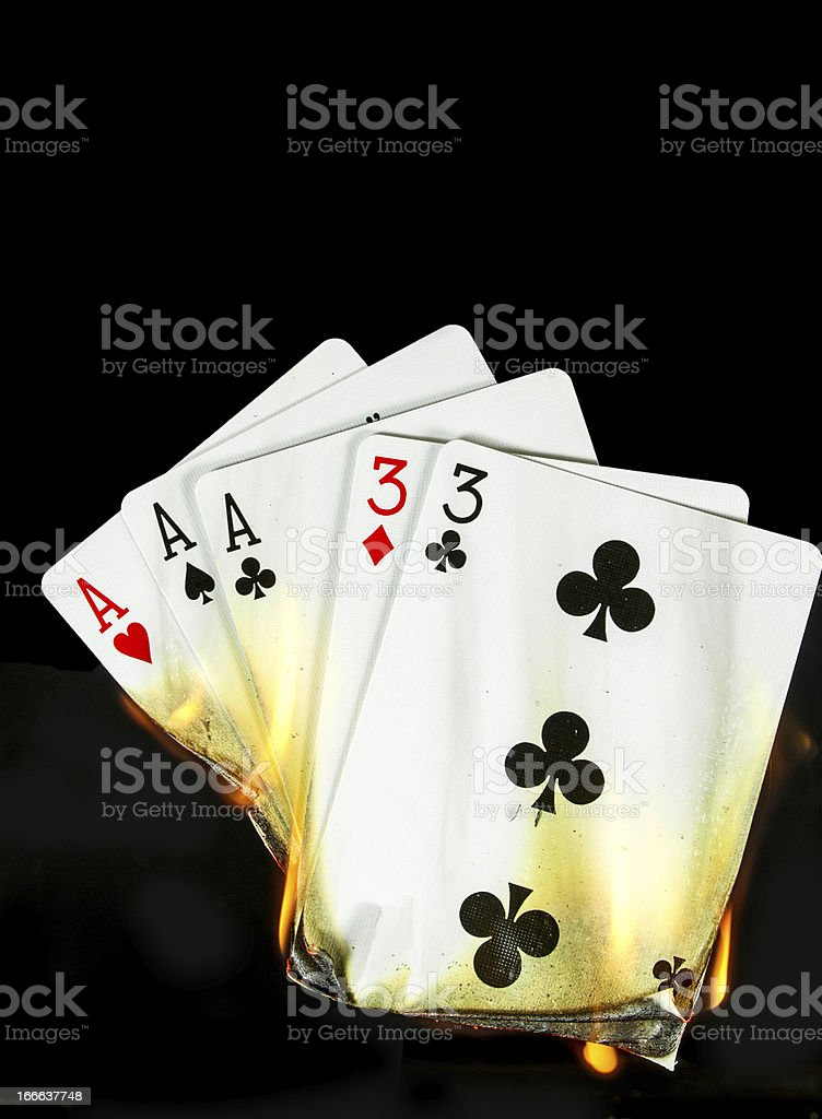 Hot Card Hand... Full House stock photo