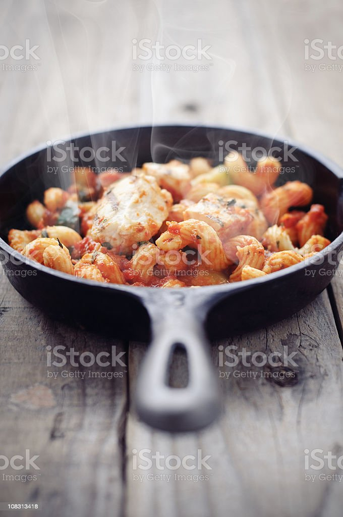 Hot Cavatappi in Skillet stock photo