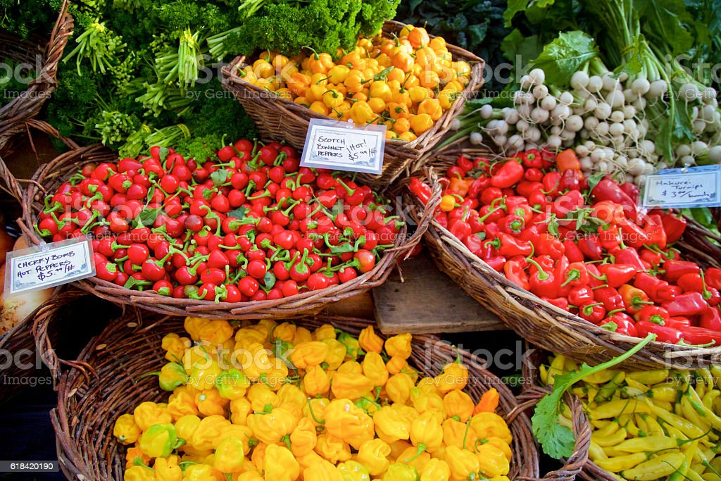 hot chili peppers at the farmer's market stock photo