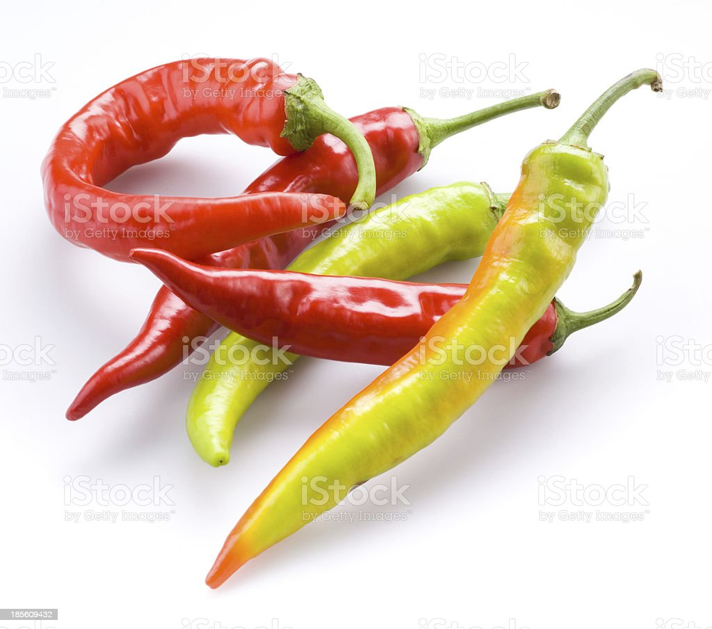 Hot chili peppers isolated on a white background royalty-free stock photo