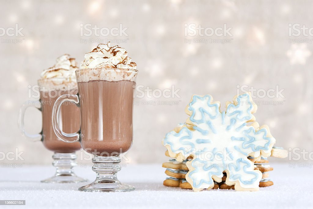 hot choclate and cookies - winter treat royalty-free stock photo