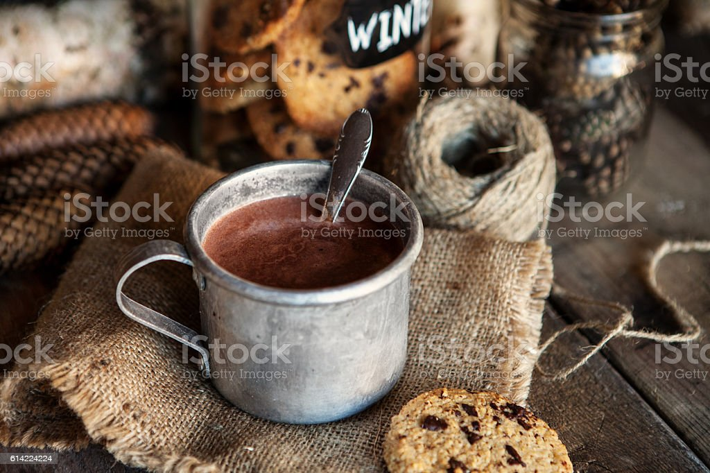 Hot chocolate and Christmas stock photo