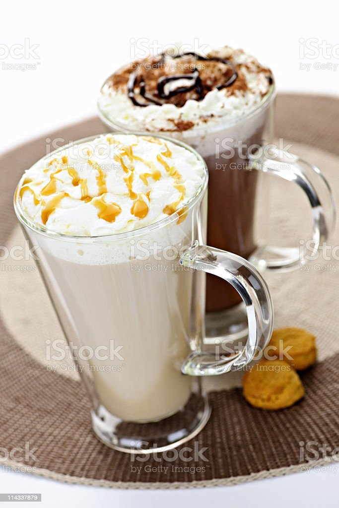 Hot chocolate and coffee beverages stock photo