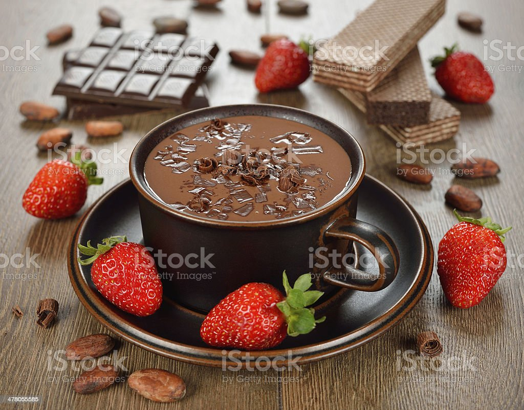 Hot chocolate and strawberry stock photo