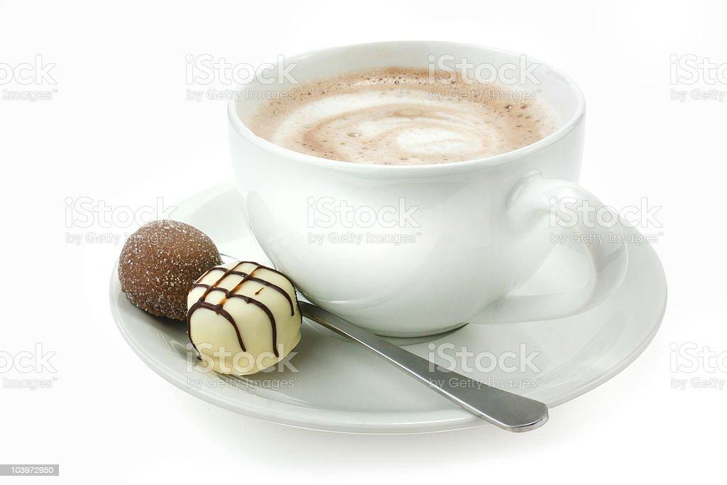 Heiße Schokolade und Trüffel Lizenzfreies stock-foto