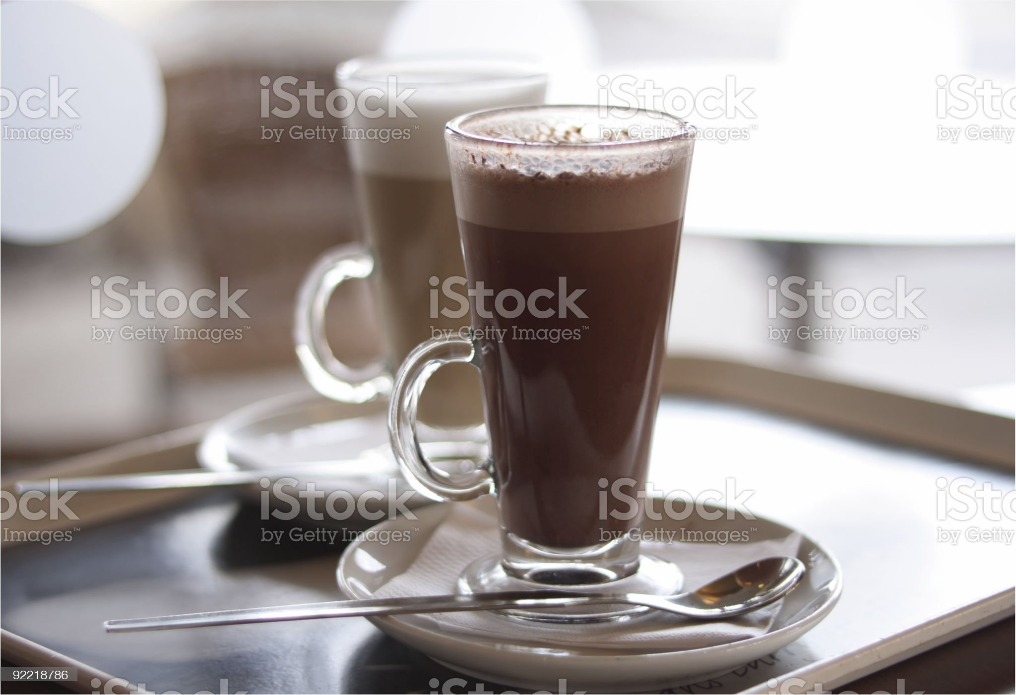 Hot chocolate cocoa in a tall class royalty-free stock photo