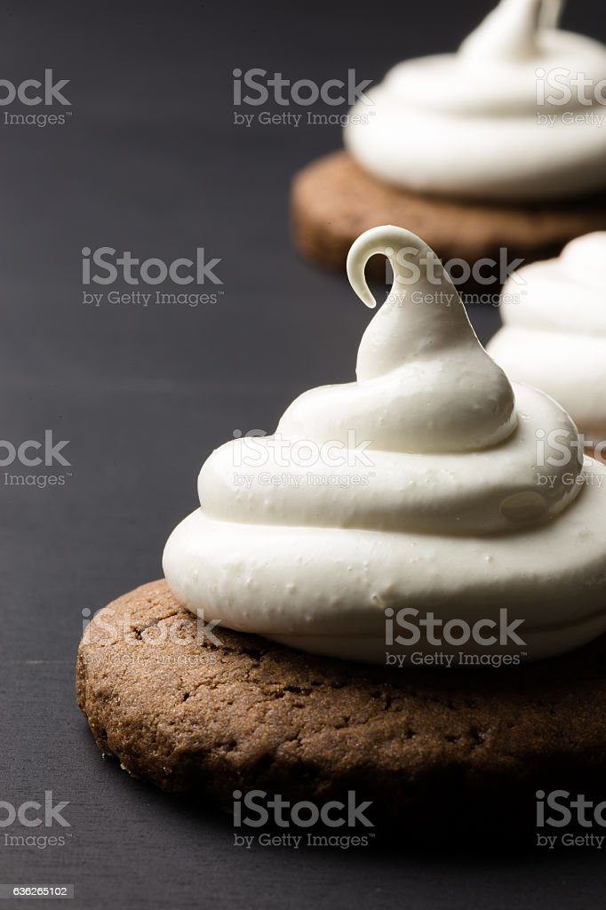 Hot chocolate cookies with marshmallow meringue stock photo