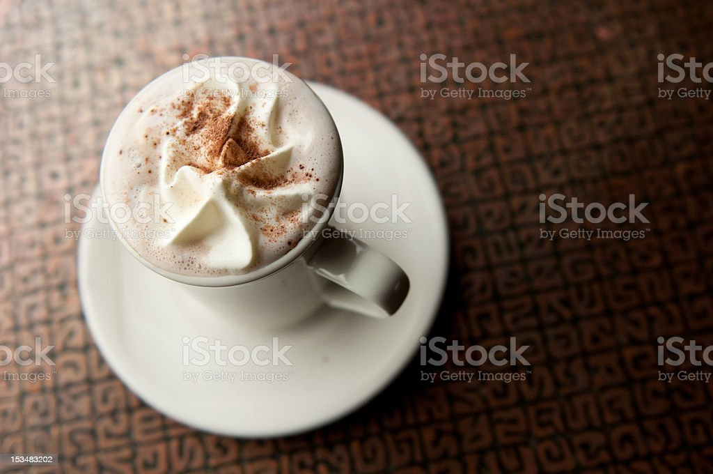 hot chocolate in coffee shop stock photo