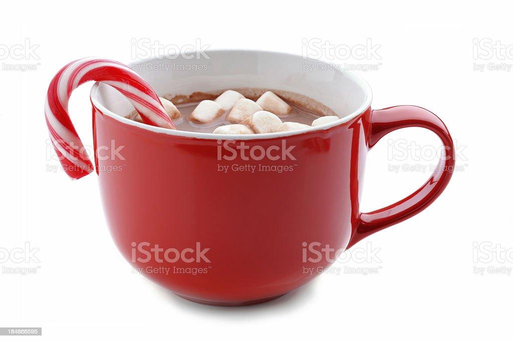 Hot chocolate in red mug stock photo