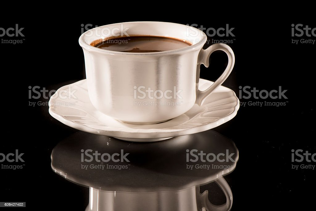 Hot chocolate in white cup stock photo
