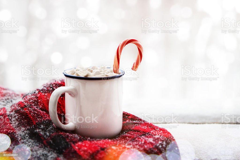 hot chocolate in winter stock photo