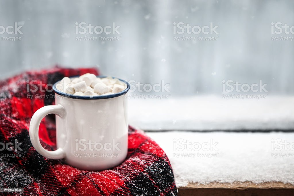 hot chocolate in winter stock photo