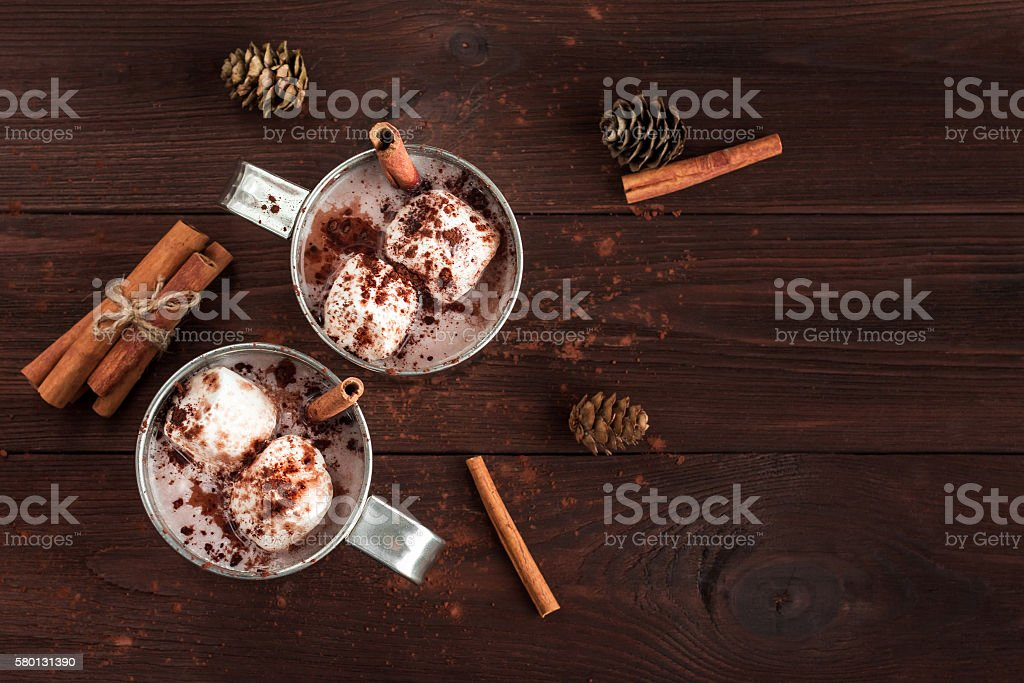 Hot chocolate, marshmallows, cinnamon sticks and fir cones stock photo