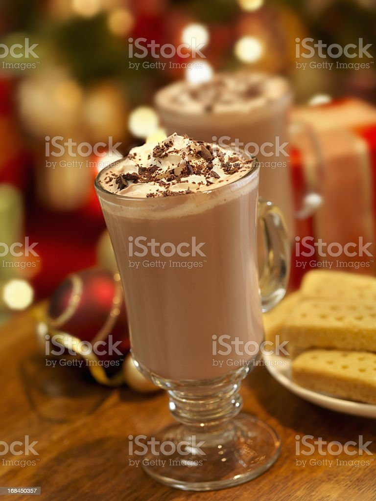 Hot Chocolate or Latte at Christmas Time royalty-free stock photo