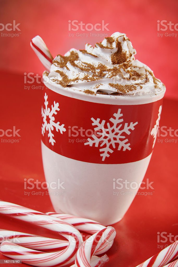 Hot Chocolate or Peppermint Latte royalty-free stock photo