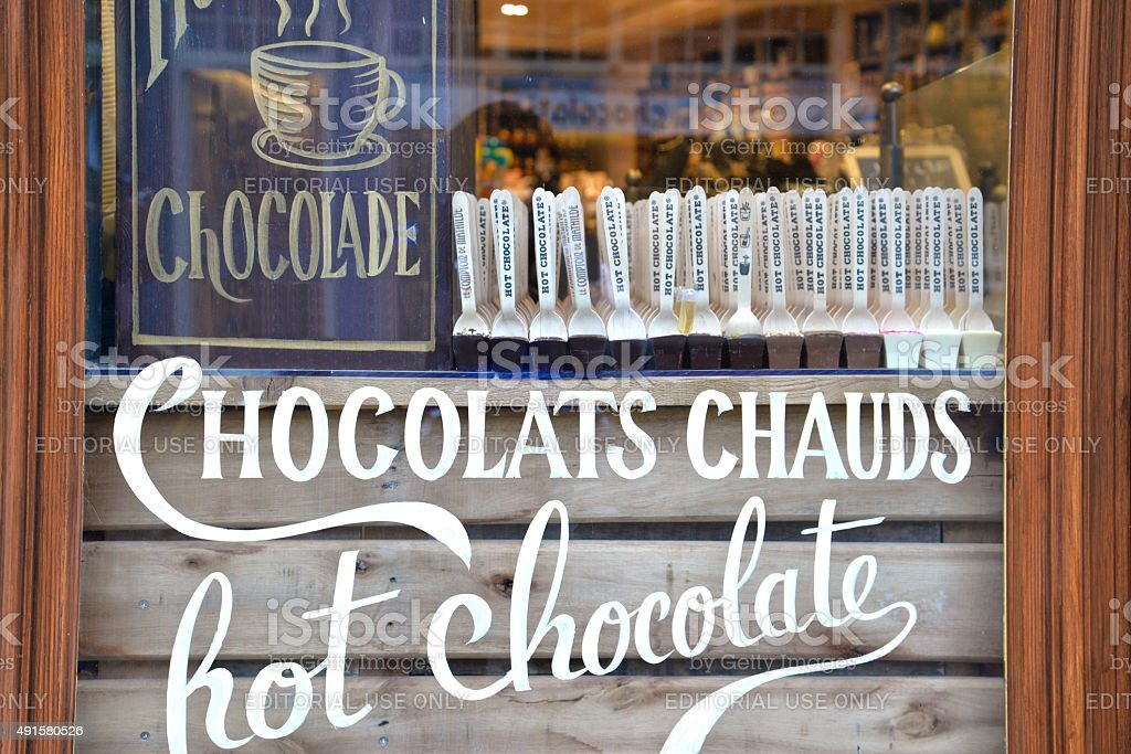 Hot chocolate shop in Bruges, Belgium stock photo