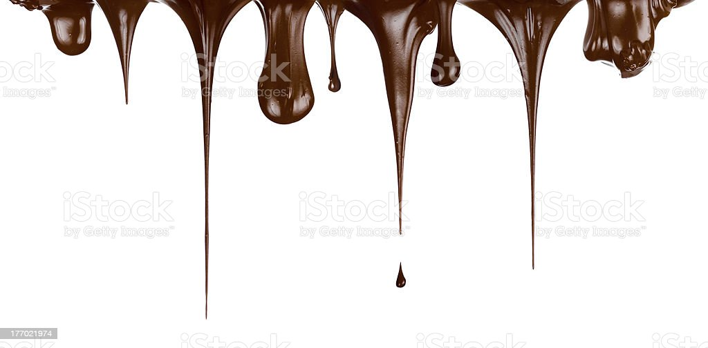 Hot chocolate streams dripping isolated on white royalty-free stock photo