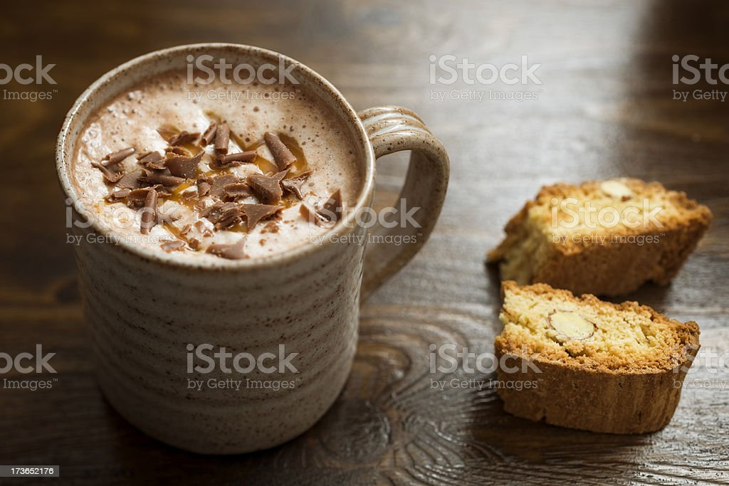 Hot Chocolate topped with Caramel and flakes. royalty-free stock photo