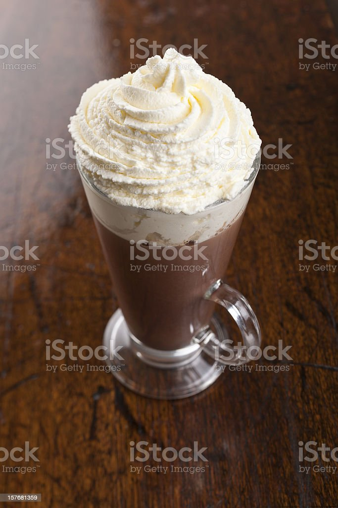 Hot Chocolate topped with fresh whipped cream royalty-free stock photo