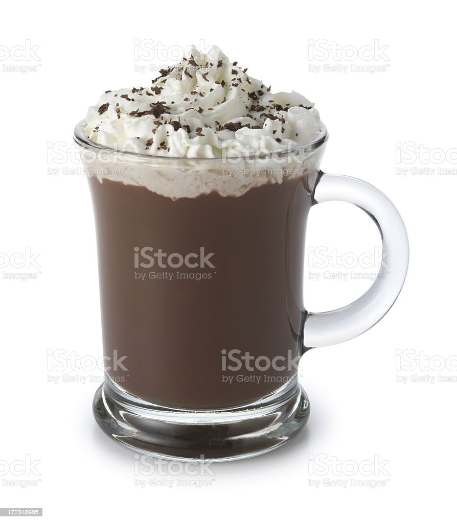 Hot chocolate topped with whipped cream isolated on white background stock photo