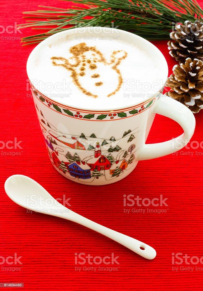 Hot Chocolate with Cinnamon Snowman stock photo