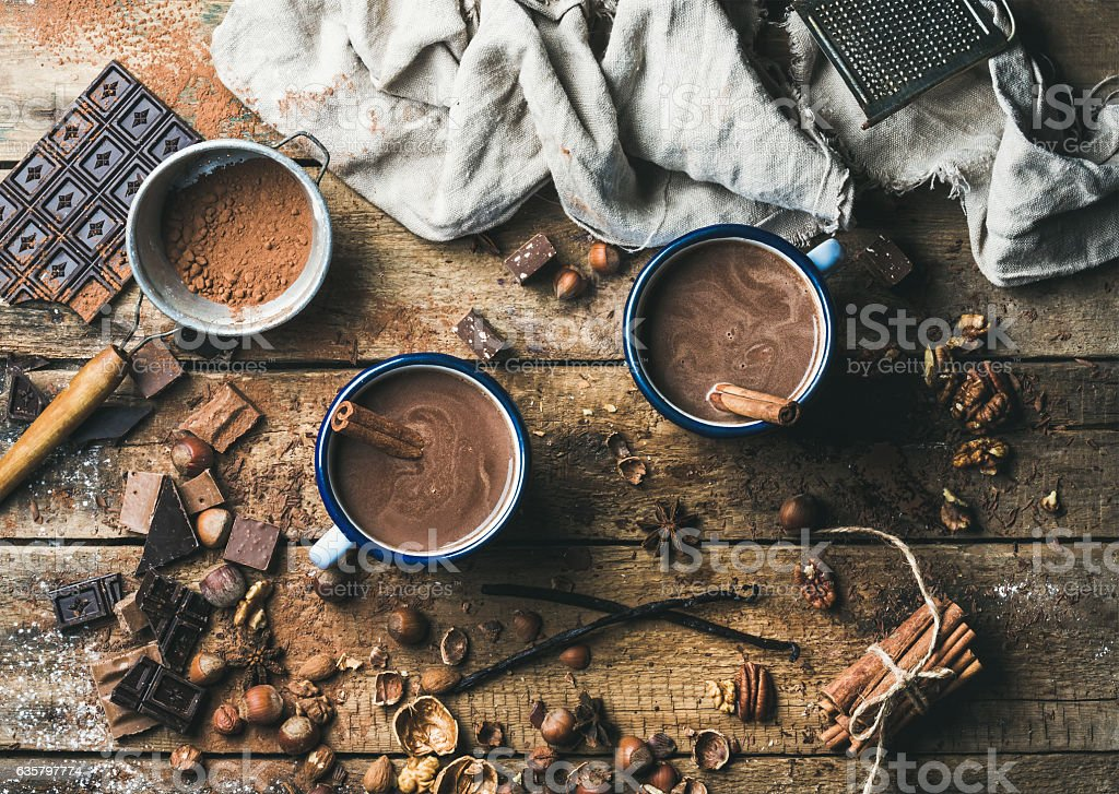 Hot chocolate with cinnamon sticks, anise, nuts and cocoa powder stock photo