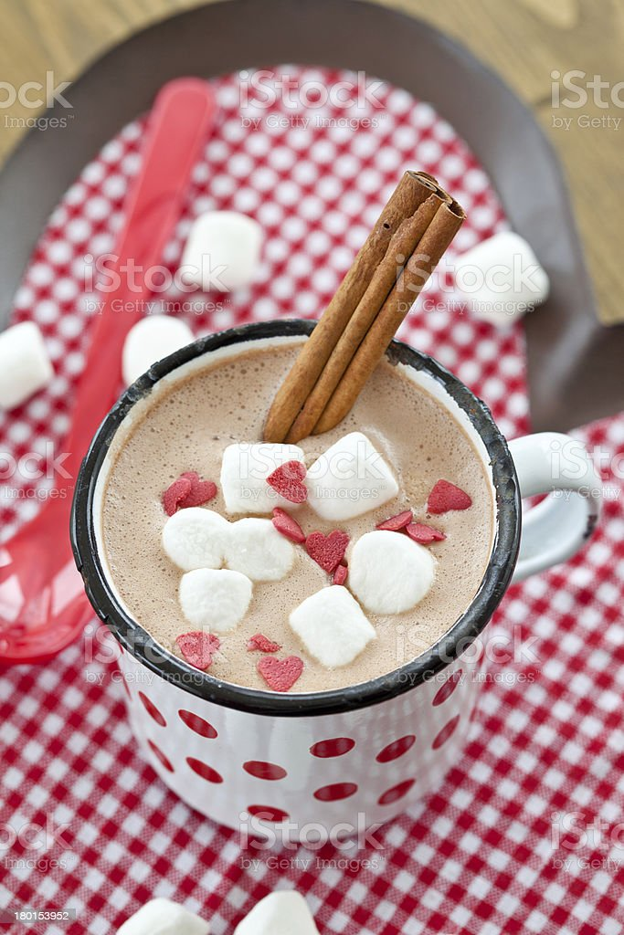 Hot chocolate with little marshmallows royalty-free stock photo
