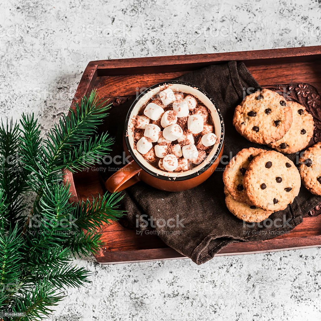 Hot chocolate with marshmallows and chocolate chips oatmeal cookies stock photo