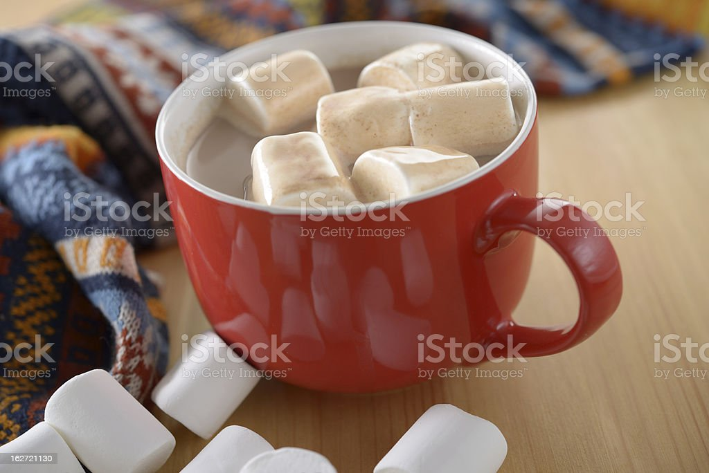 Hot chocolate with marshmallows royalty-free stock photo