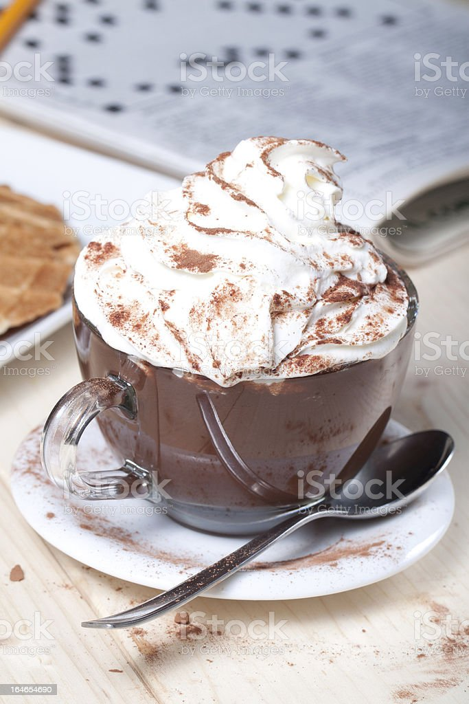 hot chocolate with mousse royalty-free stock photo