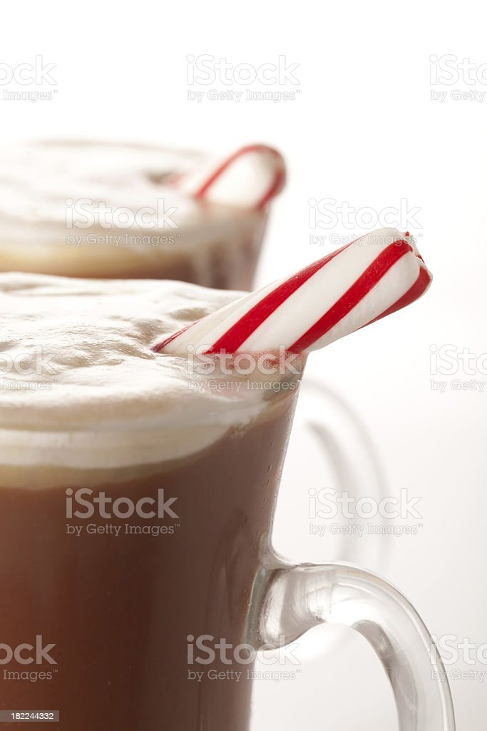 Hot Chocolate with pepermint sticks royalty-free stock photo