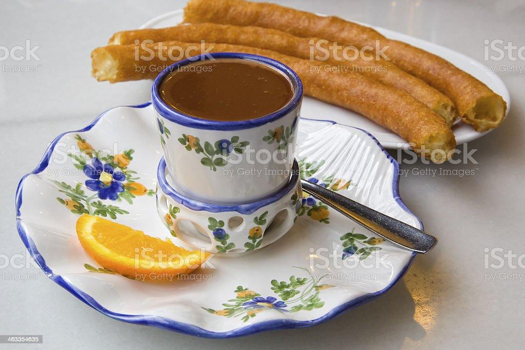Hot chocolate with porras stock photo