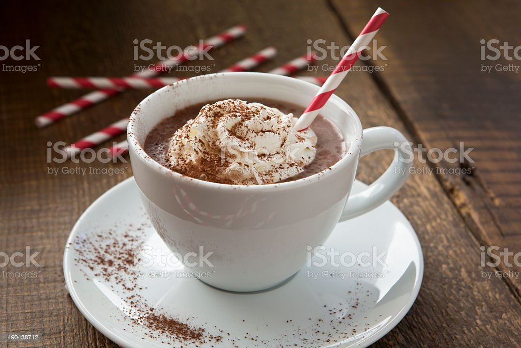 Hot Chocolate With Whipped Cream and Cocoa Powder. stock photo