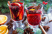 hot christmas mulled wine with snow, cinnamon sticks, anise, orange