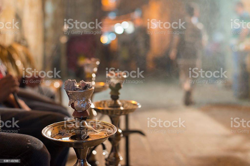 Hot coals burning on a hookah in East Jerusalem stock photo