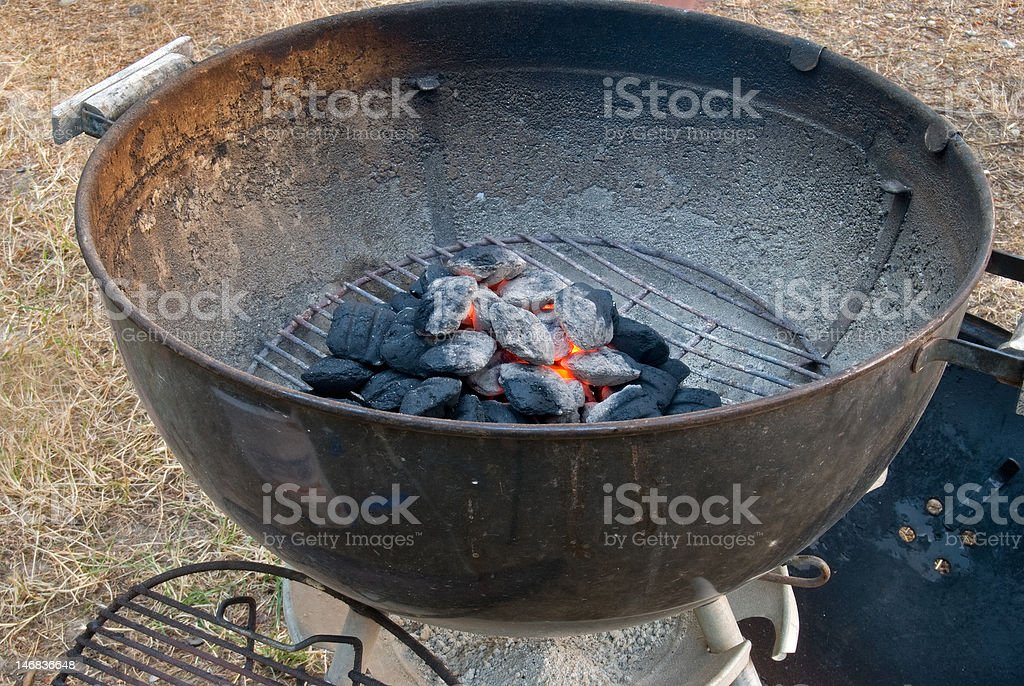 Hot Coals in a Barbeque stock photo