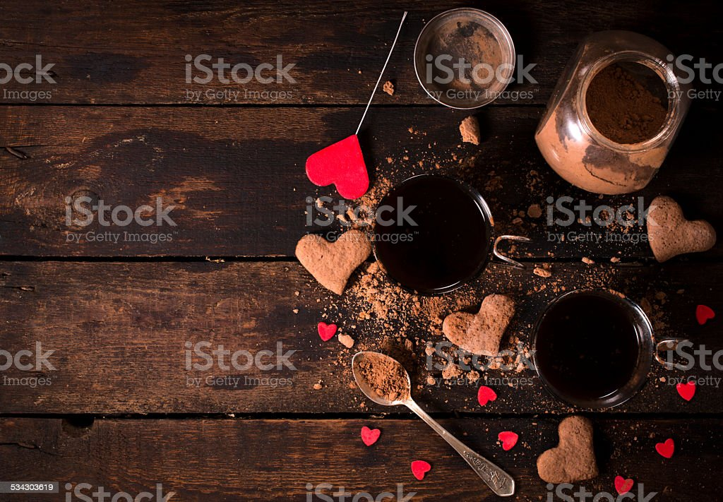 Hot cocoa and cookies stock photo