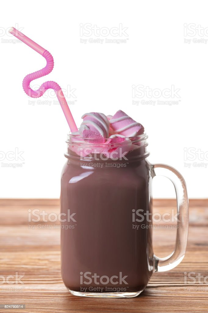 Hot cocoa drink in a jar stock photo