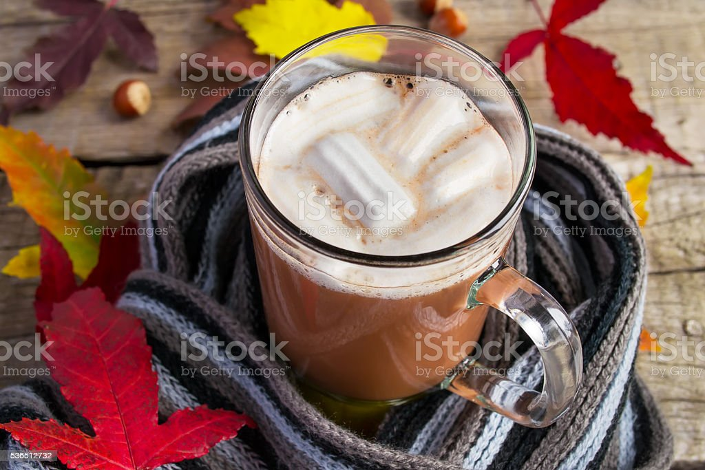 Hot cocoa marshmallow  on a knitted woolen scarf. Warming drink stock photo