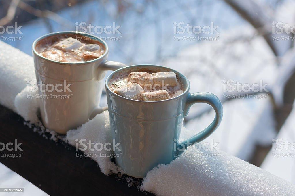 Chocolate caliente. Malvaviscos foto de stock libre de derechos