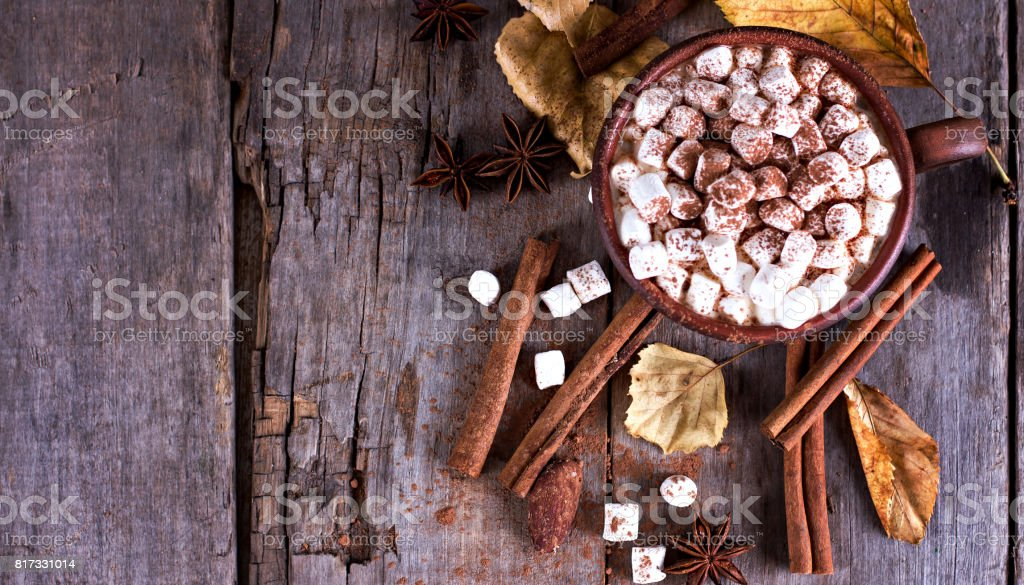 Hot cocoa with marshmallows with spices on the old wooden boards. stock photo