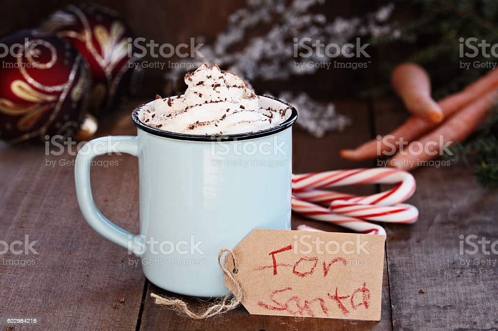 Hot Cocoa with Whip Cream for Santa stock photo
