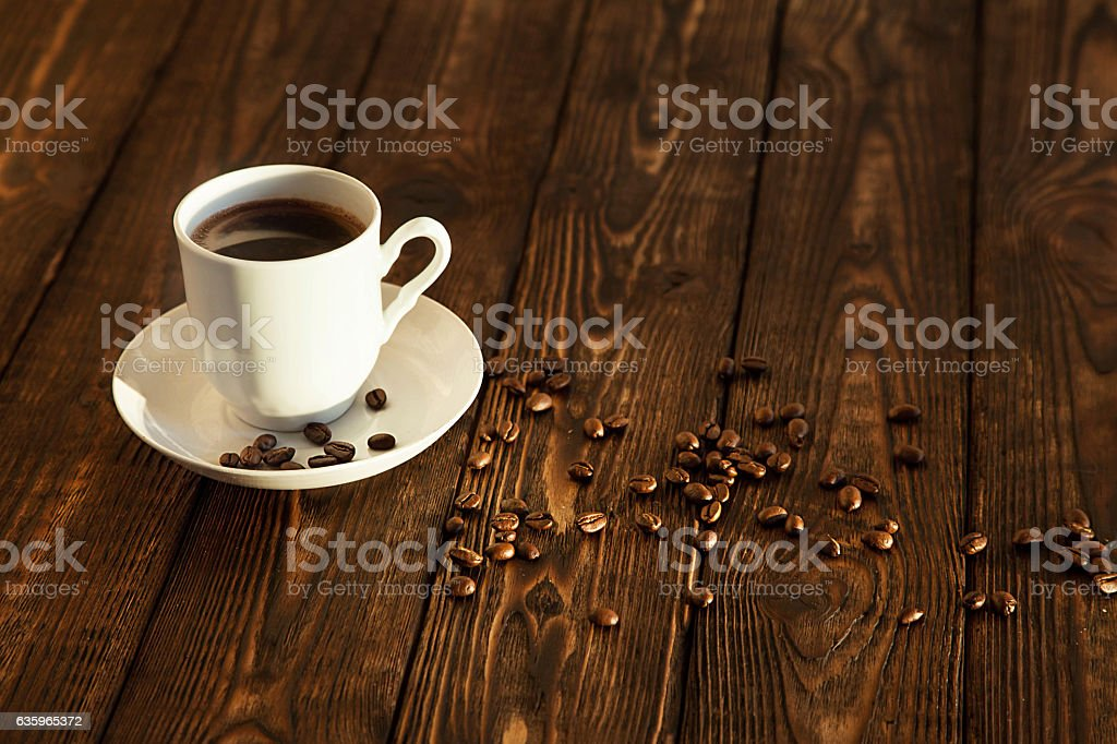 hot coffee and beans royalty-free stock photo