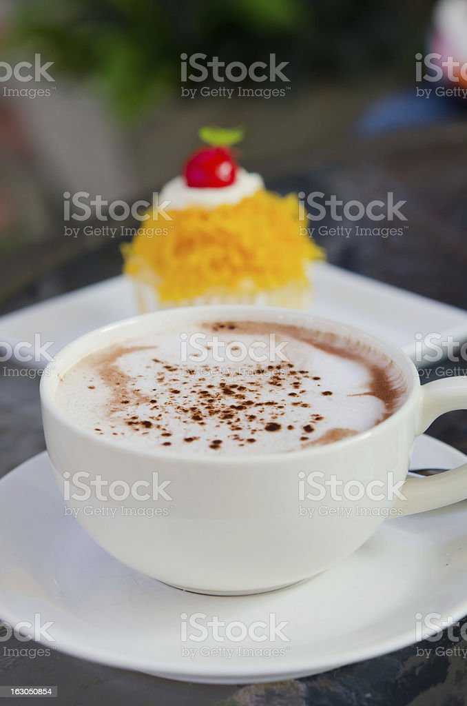 hot coffee and cake royalty-free stock photo