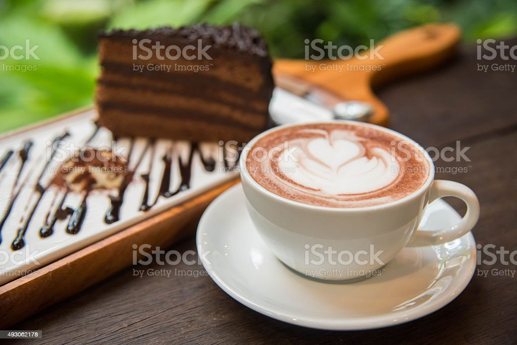 Hot coffee and chocolate cake stock photo