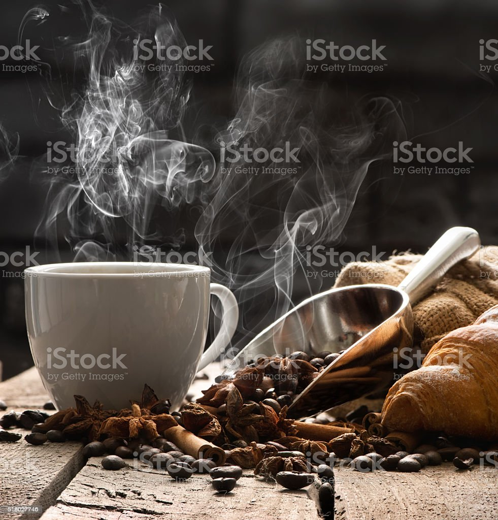 Hot coffee and croissant stock photo