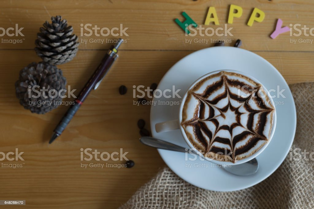 hot coffee and pen stock photo