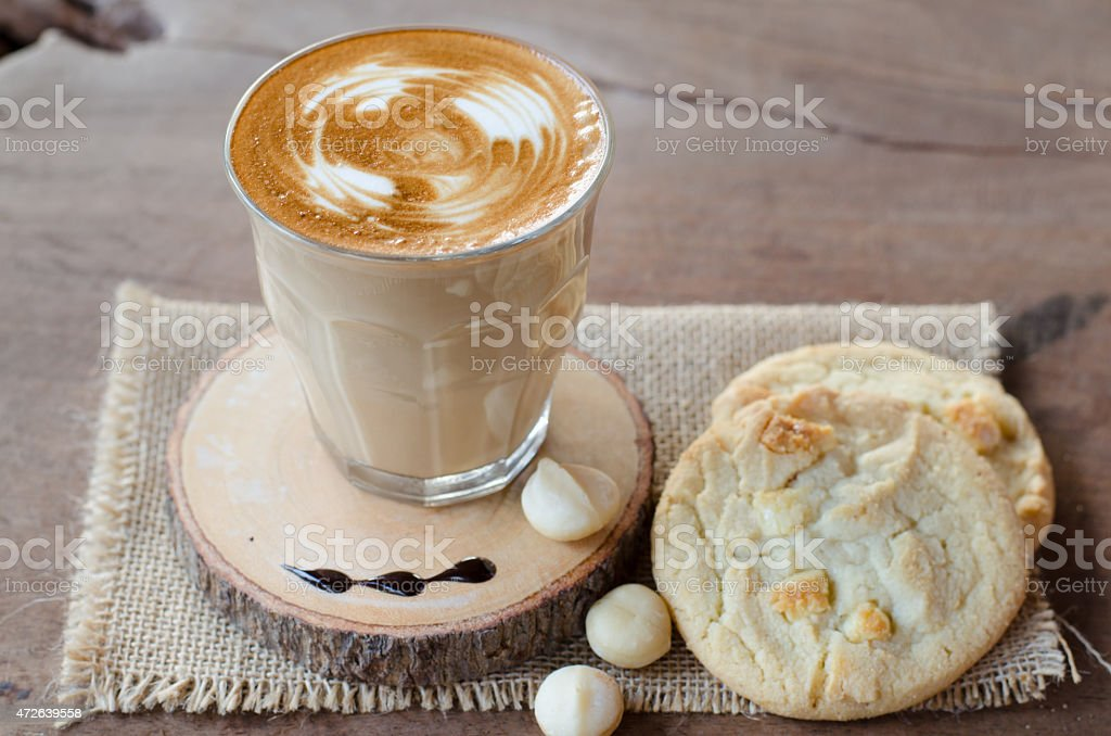 hot coffee and white chocolate macadamia cookie stock photo