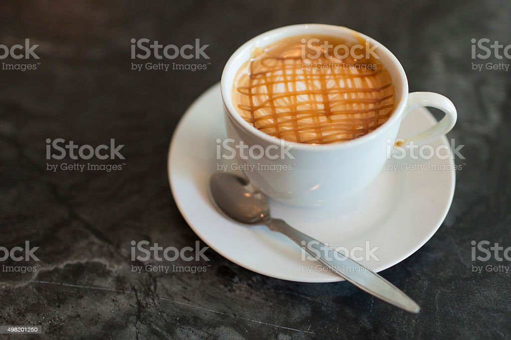 Hot coffee caramel macchiato stock photo