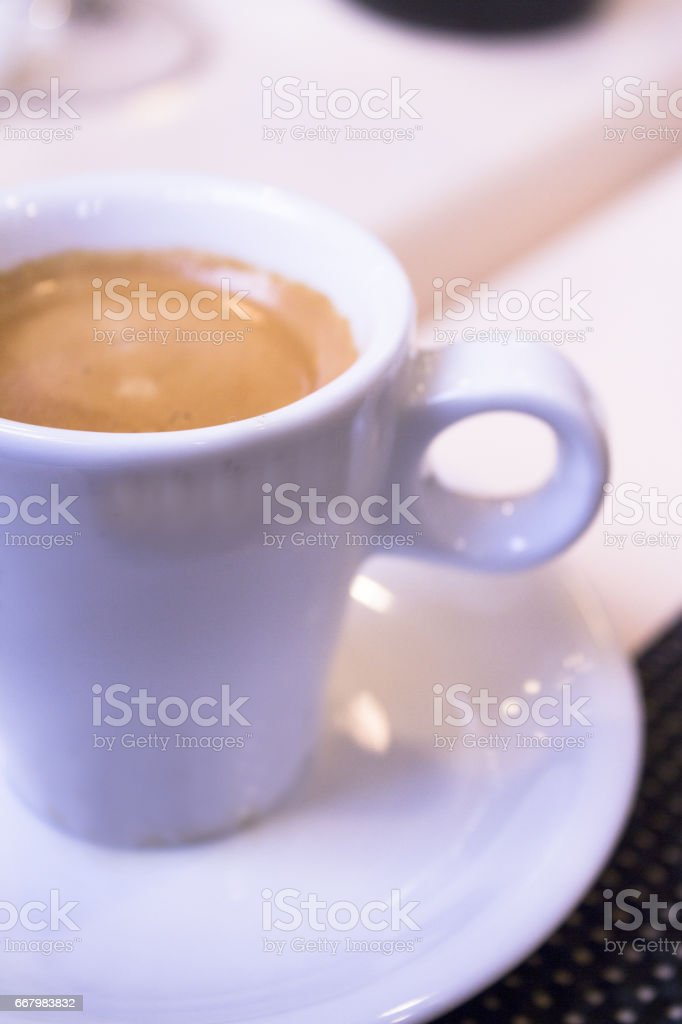 Hot coffee drink in a white cup stock photo